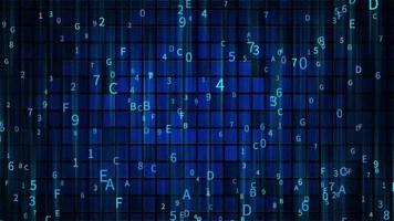 uma representação digital de códigos de dados sendo recebidos video