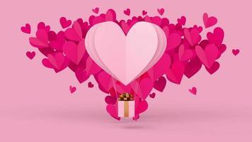 coeur de papier blanc sur coeur de papier rose avec boîte-cadeau. video