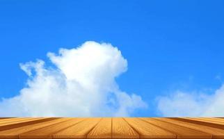 Piso de madera y nubes blancas moviéndose sobre un cielo azul video