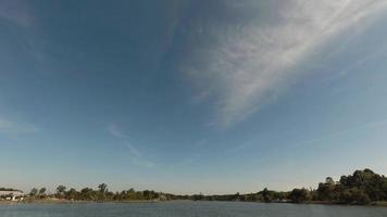 cielo azul con rio y arboles