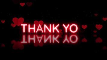 Merci message texte révéler avec un beau fond de coeurs rouges.