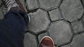 Top view feet walking straight