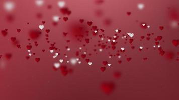 Red hearts bokeh particles abstract background.
