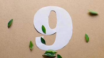Flat lay footage of number 9. Green leaves drop on the paper. video