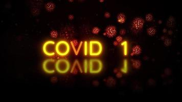 COVID-19 text reveal in glow  yellow and orange letters