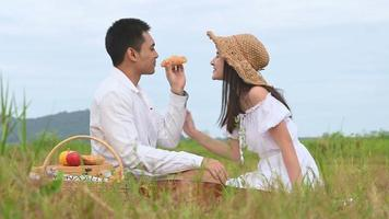 Young Asian Couple Enjoys a Picnic