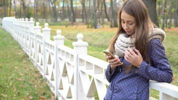 Caucasian woman with knitten scarf using smart phone, typing something during walking in autumn park video
