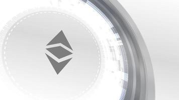 ethereum classic cryptocurrencyicon animación blanco elementos digitales tecnología fondo