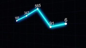 animação de loop de fundo de gráfico de linha de infográficos abstratos