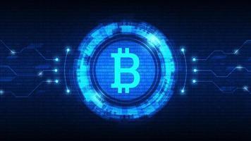 símbolo de bitcoin com hud futurista