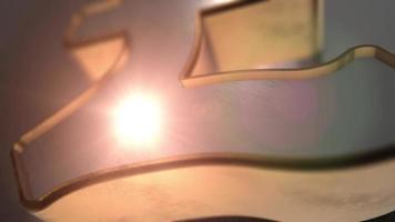 fundo financeiro com animação de ícone de libra 3d brilhante com profundidade de campo