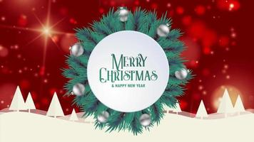 Merry Christmas greeting card animation red bokeh background trees snow