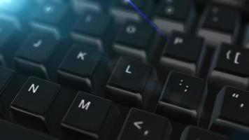 Animación de cerca el teclado de la computadora con el botón Eliminar