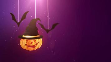 Halloween purple background animation with pumpkin and Bats falling down and hanging on strings