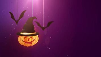 animação de fundo roxo de halloween com abóbora e morcegos caindo e pendurados em cordas video