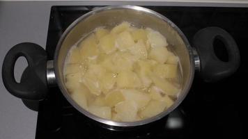 batatas picadas fervendo em uma panela no fogão elétrico video