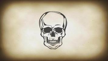 cabeça de caveira morta rindo loop