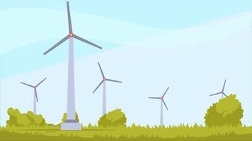 Wind Turbines In A Field video