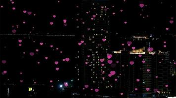 Million hearts flying on  valentine night in the city
