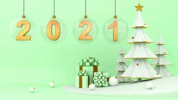deux mille vingt et un en boules de verre et coffret cadeau sur fond vert. video
