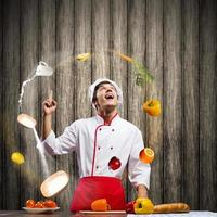 Cook at kitchen photo