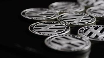 Rotating shot of Bitcoins (digital cryptocurrency) - BITCOIN LITECOIN 405
