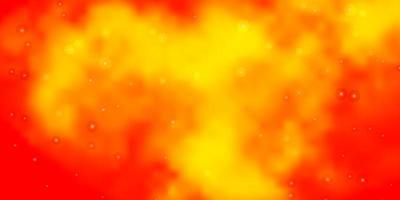 textura de vector naranja claro con hermosas estrellas.