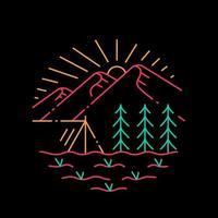 campamento de montaña con diseño de camiseta de bosque