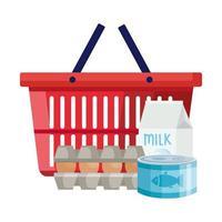 comestibles y cesta de la compra vector