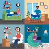 Set of scenes with young people working at home