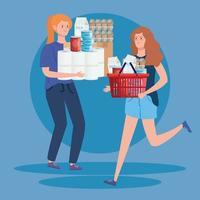 mujeres con exceso de comestibles vector