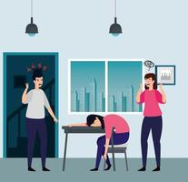 women with stress attack in the workplace