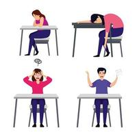 set of scenes with people with stress attack vector