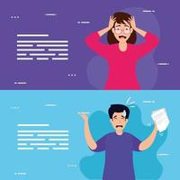 set of banners of people with stress attack vector