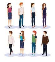 jóvenes con mascarillas avatar personajes vector