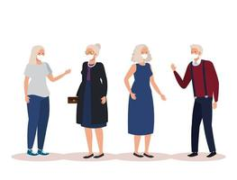 Senior citizens with face masks avatar characters vector