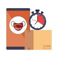 smartphone with app and  face mask vector