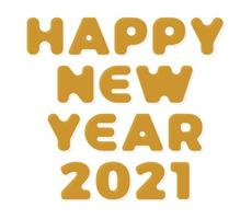 Gold Stylish greeting card vector illustration isolated on white. Happy New Year 2020. Trendy geometric font.