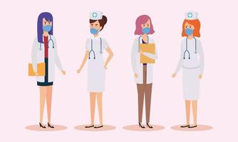group of doctors and nurses with face masks vector