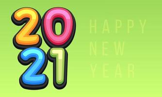 Vector Happy New Year 2021 cute greeting card for Children. Funny Alphabet Letters, Numbers, Symbols. Multicolored Font contains Graphic Style on green background