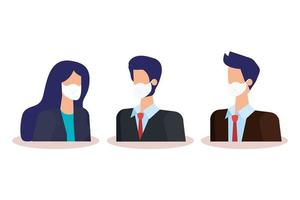 business people with face masks avatar characters vector