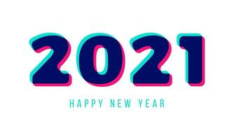3d Stylish greeting card vector illustration isolated on white. Happy New Year 2021. Trendy geometric font.