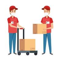 delivery workers wearing face masks with packages vector