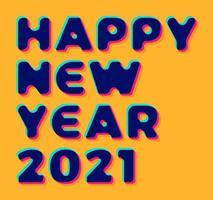 3d Stylish greeting card vector illustration on orange background. Happy New Year 2020. Trendy geometric font.