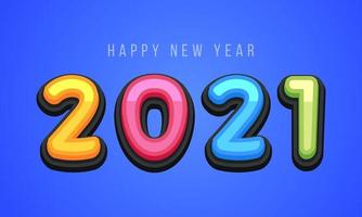 Vector Happy New Year 2021 cute greeting card for Children. Funny Alphabet Letters, Numbers, Symbols. Multicolored Font contains Graphic Style on blue background