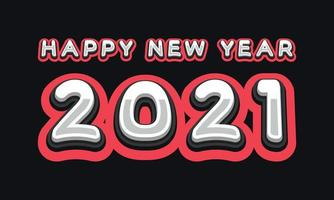Vector Happy New Year 2021 cute greeting card for Children. Funny Alphabet Letters, Numbers, Symbols. Multicolored Font contains Graphic Style