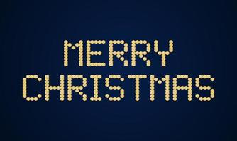 Gold merry christmas Vector block typography. Holidays greeting card illustration. Geometric xmas Posters like electronic scoreboard.