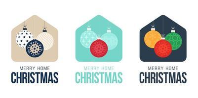 Feliz tarjeta de Navidad 2020 en casa con divertidas bolas navideñas minimalistas vectoriales. Ilustración de dibujos animados plana de concepto de Navidad seguro quedarse en casa insignia en cuarentena. reacción covid-19.
