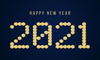 Gold Happy New Year 2021 Vector block typography. Holidays greeting card illustration. Geometric New year Posters like electronic scoreboard.