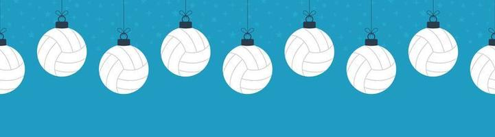 Merry Christmas volleyball seamless horizontal pattern. Hang on a thread flat cartoon volleyball ball as a Christmas ball on blue horizontal background. Sport Vector illustration.